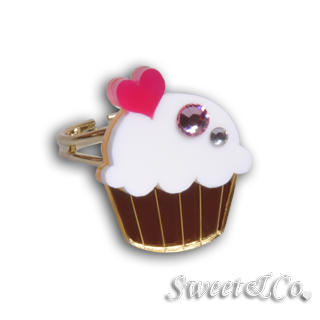 Sweet & Co. - Mini White Cupcake Crystal Gold Ring (S)