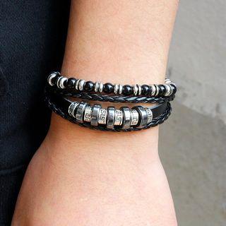 KINNO - Set of 2: Genuine Leather Layered Bracelet + Beaded Bracelet