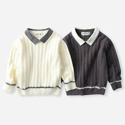 Happy Go Lucky - Kids Collared Sweater