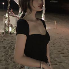 ROCKBABE - 短袖純色針織短款上衣