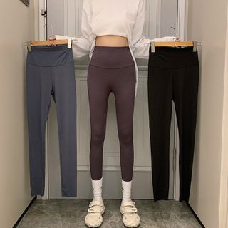 Closette - Plain High-Waist Fleeced Leggings