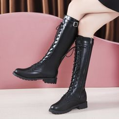 Raylove - Faux-Leather Lace-Up Belted Tall Boots