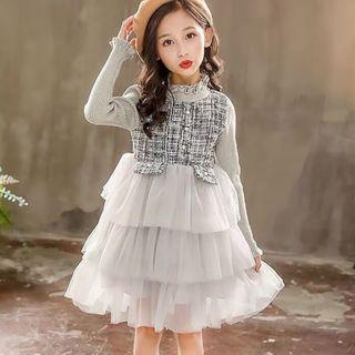 Cuckoo - Kids Tweed Panel Long-Sleeve Layered A-Line Mini Mesh Dress