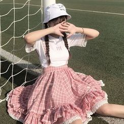 Honey Diary - Crew-Neck Short-Sleeve T-Shirt / Plaid Suspender Skirt