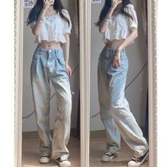 Apotheosis - Puff-Sleeve Eyelet Lace Top / Washed Wide Leg Jeans / Set