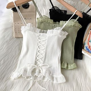 Kazarina - Lace Up Knit Camisole Top