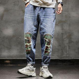 Rampo - 迷彩拼接直筒牛仔褲