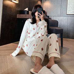Endormi - Pajama Set: Strawberry Print Shirt + Pants