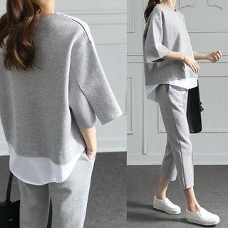 Jeonseon - 套裝: 假兩件套衫 + 七分運動褲