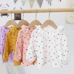 MOM Kiss - Baby Long Sleeve Ruffle Collar Polka Dots Top