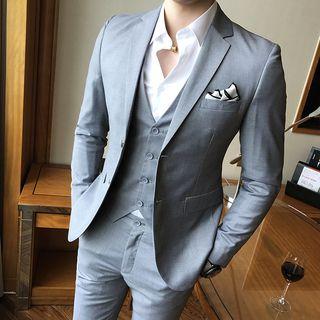 Hawoo - Suit Set: Blazer + Dress Vest + Dress Pants