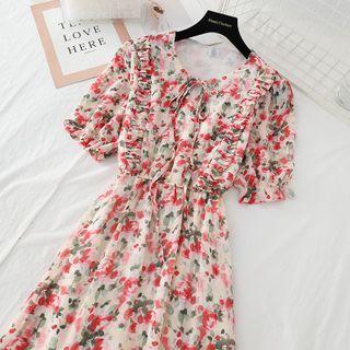 NINETTE - Short-Sleeve Floral Print Ruffled Midi Chiffon Dress