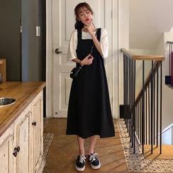 Mikiko - Plain Midi Pinafore Dress