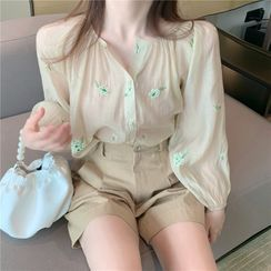 Joyolo - Floral Embroidered Balloon-Sleeve Blouse / Shorts