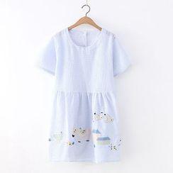 Angel Love - Short-Sleeve Striped A-Line Dress