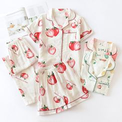 MelMount - 家居服套装:印花衬衫 + 裤