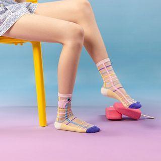 QUICKSOOX - Plaid Mesh Socks