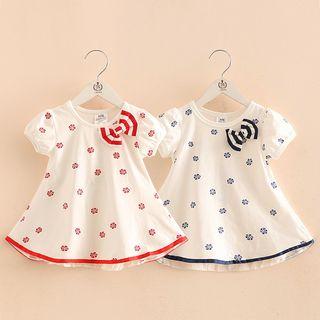 Seashells Kids - Kids Floral Print Bow Accent Short Sleeve Dress