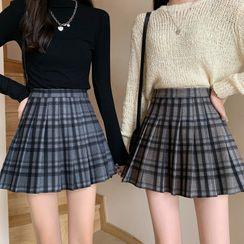 Dute - Pleated Mini A-Line Plaid Skirt