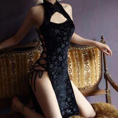 Mallo - Set: Lace-Up Lingerie Qipao + Thongs