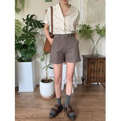 maybe-baby - Cuff-Hem Cotton Shorts