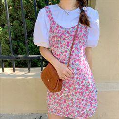 Moon City - Balloon-Sleeve Blouse / Floral Print Pinafore Dress