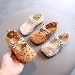 Doradas - Kids Bow-Accent Belted Knit Flats