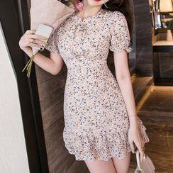 Aurora - Short-Sleeve Floral Print Mini Mermaid Dress
