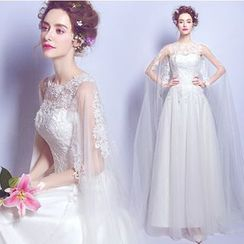Caprice - Embroidered Trained Wedding Dress
