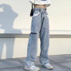 Malnia Home - Asymmetric Waist Ripped Jeans