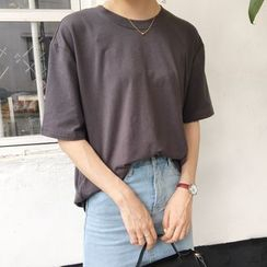 ALIN STYLE - Short-Sleeve Plain T-Shirt
