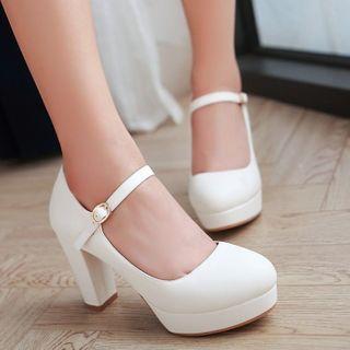 Megan - 純色粗跟瑪莉珍鞋
