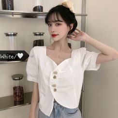 Honey Diary - Asymmetric Short Sleeve V-Neck Blouse
