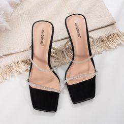 安若 - 水钻方形鞋头高跟凉拖