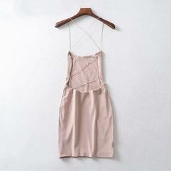 Hollahop - Strappy Back Sleeveless Mini Bodycon Dress