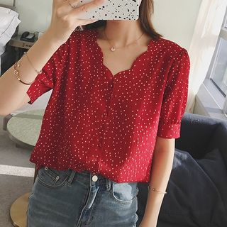 Paila - Dotted Short-Sleeve Blouse
