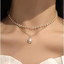 Gemsha - Faux Pearl Layered Necklace