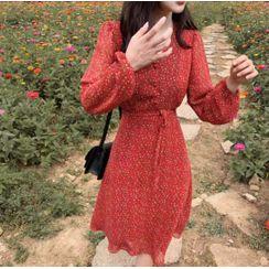 minaga - Floral Print A-Line Chiffon Dress