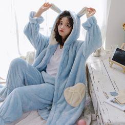 Ciambella - 套装: 连帽家居服睡袍 + 裤