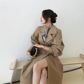 DABAGIRL - Bishop-Sleeve Cotton Trench Coat