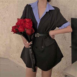 Beauvoir - 短袖條紋襯衫/西裝外套