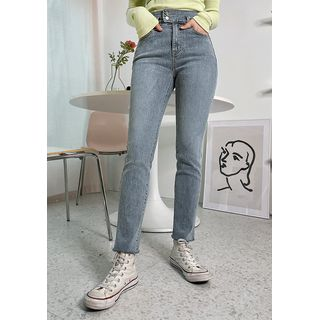 chuu - Washed Slim-Fit Jeans