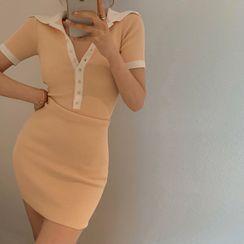 TRAO - Short-Sleeve Knit Mini Bodycon Polo Dress