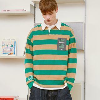 rolarola - [R:LOL] COUPLE Letter-Printed Striped Polo Shirt