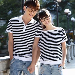 NoonSun - Couple Matching Striped Short-Sleeve T-Shirt / Polo Shirt