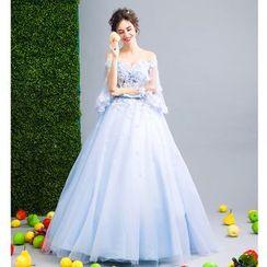 Angel Bridal - Off-Shoulder Embellished Floral Evening Gown