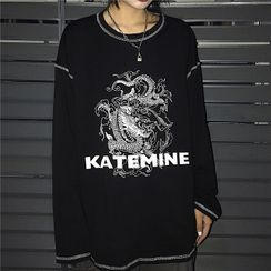 Giuliana - Dragon-Print Stitched Long-Sleeve T-Shirt