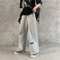 Koiyua - Distressed Wide-Leg Sweatpants