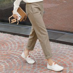 CLICK - Band-Waist Fleece-Lined Tapered Pants