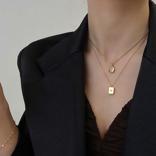 Foreflow - Alloy Pendant Layered Choker Necklace